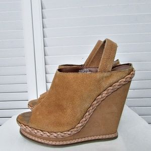 Boutique 9 tan suede leather wedge sandals 8.5 M